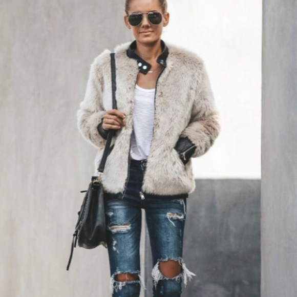 Vici Jackets & Blazers - Vici vanity faux fur leather trim jacket